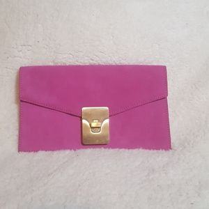 Talbots Hot Pink Suede Letter Clutch